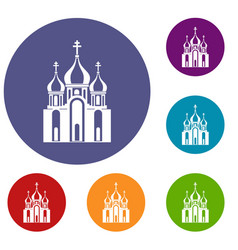 church building icons set vector image