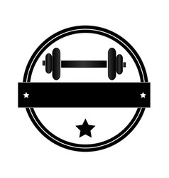 Circular border with dumbbell for training in gym vector