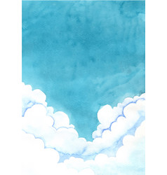 Cloud sky at night time watercolor background vector