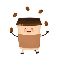coffee paper cup juggles with coffee beans vector image