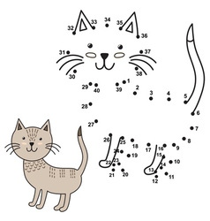 connect the dots to draw the cute cat and color vector image