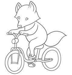 cute cartoon raccoon riding a bicycle vector image