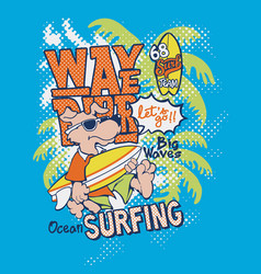 cute dog wave rider surfing team vector image