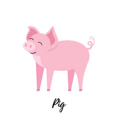 cute piggy isolated domestic pig kid vector image