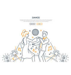 dancing in nightclub linear landing page template vector image