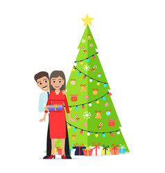 Decorated christmas tree garlands family couple vector