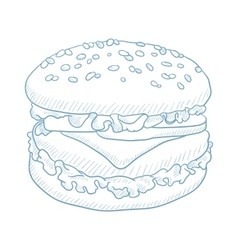 Delicious and appetizing hamburger vector