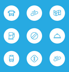 Direction icons line style set with bus steps vector