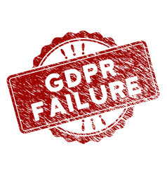 Distress textured gdpr failure stamp seal vector