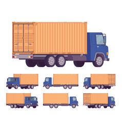 Euro truck with orange metal container vector