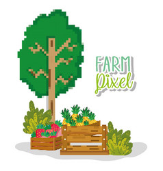 Farm pixelated cartoons vector
