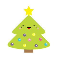 fir christmas tree with star top tip light ball vector image