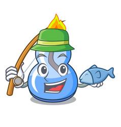 Fishing alcohol burner mascot cartoon vector