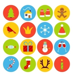 Flat New Year Icons vector image