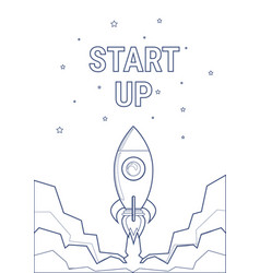 Flying rocket business startup concept banner with vector