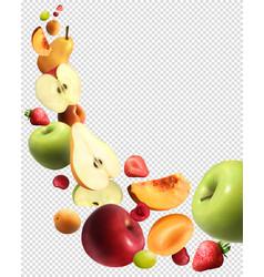 fruits falling realistic transparent set vector image