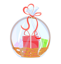 gift basket holiday celebration present with bow vector image