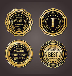 golden badge collection elegant black and golden vector image