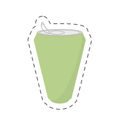 Green soda can drink cut line vector