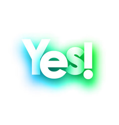 green yes sign on white background vector image