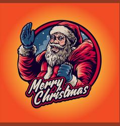 greet santa claus merry christmas with bag artwork vector image