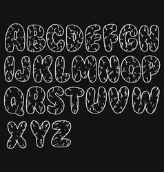 hand drawn chalk sketched doodle font set of vector image