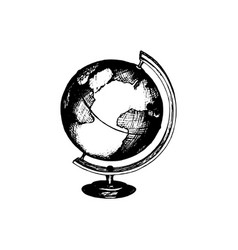 hand drawn globe in used vector image