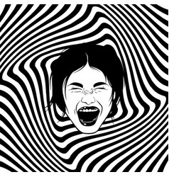 hand drawn of screaming girl emotional realistic vector image
