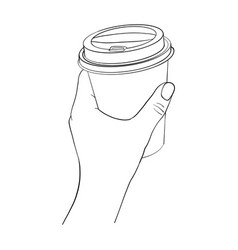 hand with coffee cup vector image