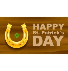 Happy St Patricks Day Golden Horseshoe and vector image