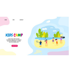 horizontal flat banner kids camp active leisure vector image