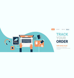human hand laptop computer delivery track company vector image