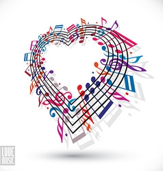 I love music concept Heart made with musical notes vector image