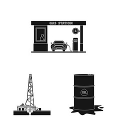 isolated object of oil and gas sign set of oil vector image