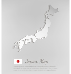 Japan map white card paper 3D vector image