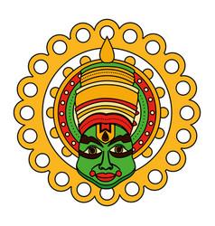 Kathakali onam celebration design vector