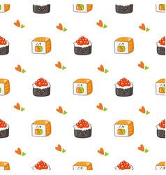 Kawaii sushi rolls sashimi - composition or set vector
