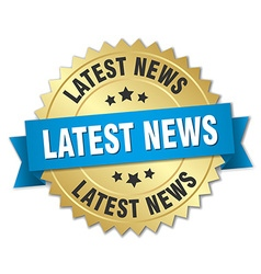 Latest news 3d gold badge with blue ribbon vector