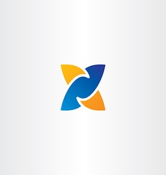 letter x logotype x logo blue orange icon vector image