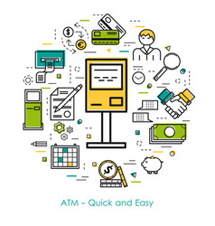 line art concept - atm - quick and easy vector image