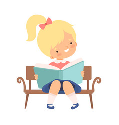 Little girl sitting on bench and learning to read vector