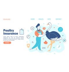 livestock poultry concept farmer and ostrich vector image