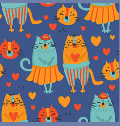 love cat hand drawn seamless pattern vector image