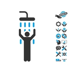 Man Under Shower Icon With Tools Bonus vector