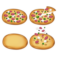 margarita pizza kit with salami traditional vector image