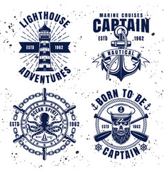 Maritime set emblems in vintage style vector