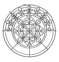 Medieval circular panel is a 14th century design vector