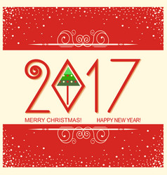 merry christmas and happy new year card with text vector image