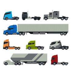 modern trucks collection delivery and shipping vector image