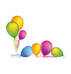 Multicolored set flying balloons with serpentine vector